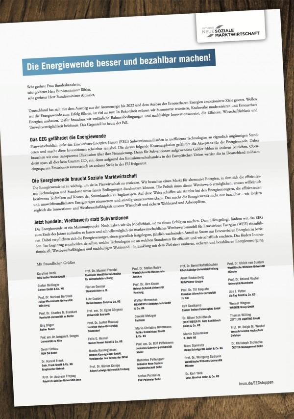 Oktober-Dezember 2012: Offener Brief an die Bundeskanzlerin